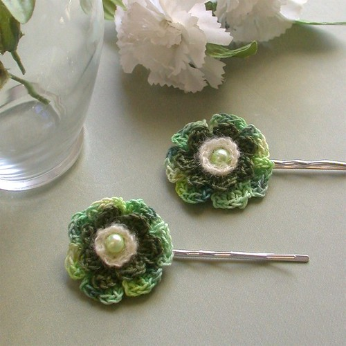 Crochet Cotton Mohair Flower Bobby Pins - Soft Greens