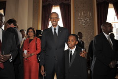 Kagame with Shaquille Libera, a 12-year old Rw...