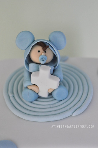 Boy blue christening cake