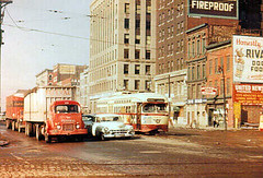 This 1950's era Detroit michigan photograph, was photographed either on the Woodward or gratiot streetcar line toward the end of the line.