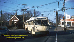 Detroit Department of Street Railways electric trolley bus # 9137 at Schaefer and Grand Riverin November of 1961.