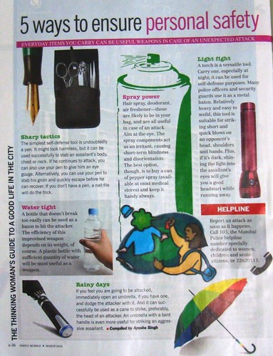 Tips for women's safety in a city magazine - India
