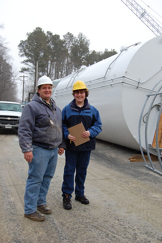 Berlin, MD Superintendent of Wastewater James C. Latchum (l) with Worcester Prep reporter Jamie Welch.