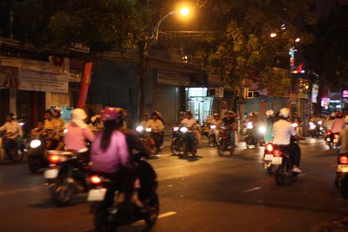 The Saigon streets at night