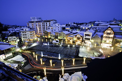 Evening Overview of Yubatake, Kusatsu Onsen, Japan 草津溫泉湯畑向晚