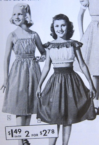 Shirred Girls' Skirt and Dress from 1940s Sears Catalog