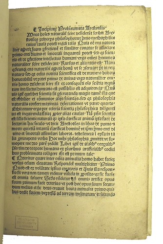 Opening page from Aristoteles [pseudo-]: Problemata