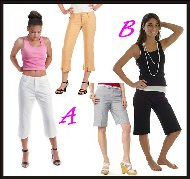 capri pants vs. Bermuda shorts