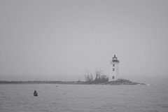 (StephsShoes) Tags: blackandwhite lighthouse mist fog coast connecticut bridgeport canon70200f4l morerain fayerweatherlighthouse