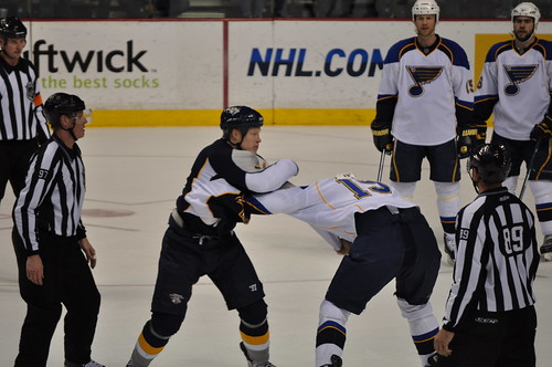 Preds v Blues 4-1-10 Belak vs King Fight