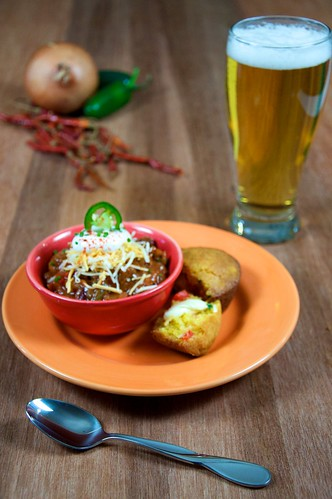 Bowl of Chili and a Glass of Beer