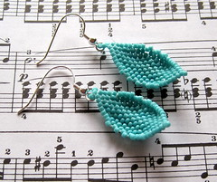 turquoise beaded leaf earrings (randomcreative) Tags: blue leaves turquoise jewelry peyote earrings etsy beadweaving beadwoven offloom randomcreative sterlingsilverearringwire