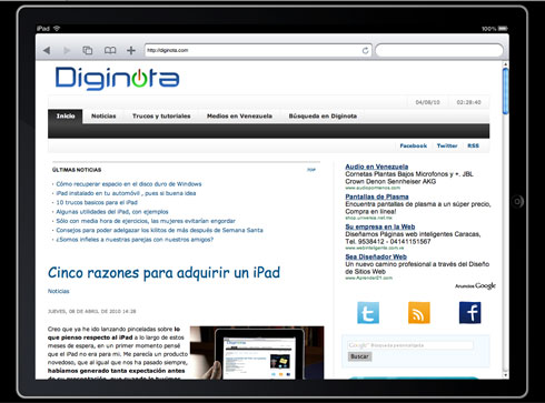Diginota optimizada para el iPad