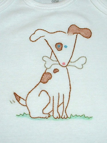 embroidered doggie onesie