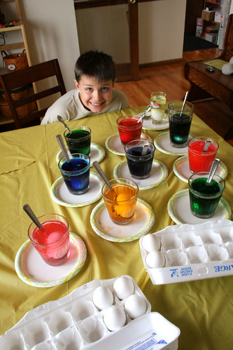 Jack's ready to dye eggs.