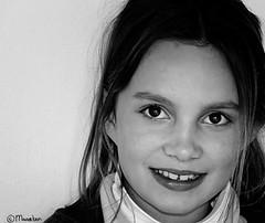 Sam (Pjotre7 (www.maartenvandevoort.nl)) Tags: light portrait bw white black holland art netherlands girl smile face dark blackwhite kid model child sam sony nik tilburg youngmodel hx1 pjotre7