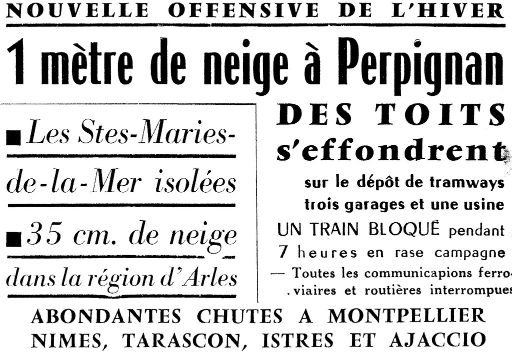 1 mètre de neige à Perpignan en février 1954