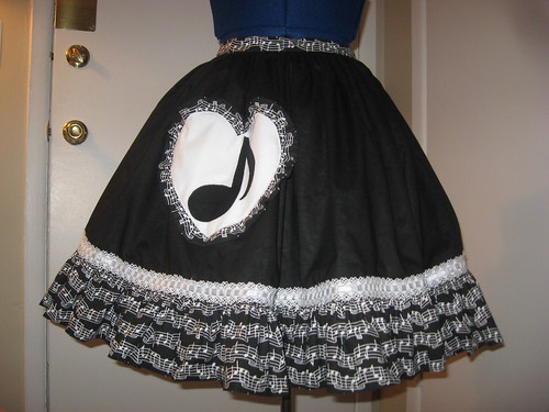 Music Note Applique Reversible Overskirt 002