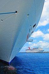 """Two Ships,"" Cozumel, MX. (MichaelStano) Tags: ocean travel island ships cruising bow caribbean cozumelmexico bulbousbow carnivalcruiseline nikond700 nikkor1424mmf28"