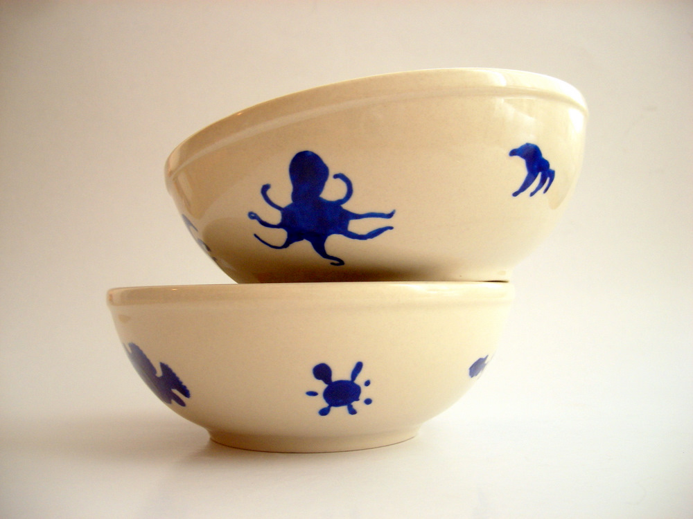 "Hand painted Bowl Set ""Under Sea World"""