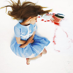 a lesson in dying (brookeshaden) Tags: snow cold girl hair book blood dress dying lying brookeshaden