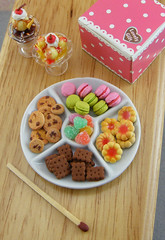 Cookie and Candy Platter (Shay Aaron) Tags: birthday party food house scale kitchen cake french miniature rainbow colorful doll cookie heart handmade fake mini celebration biscuit reception tiny icecream almonds faux buffet jam 12th 112 jellybeans gummy dollhouse petit macaroons twelfth macarons chocolatechipscookie sweetandsour petitbeurre butterfilled