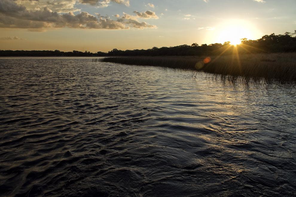 Atardece en medio de la laguna, juncos crecen en las cercanías de la playa.. (Laguna Blanca - Santa Rosa del Aguaray, San Pedro, Paraguay - Tetsu Espósito)