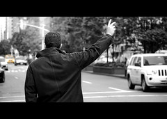 taxi! (Vitaliy P.) Tags: park street new york city nyc 2 two man colors up yellow photography nikon hand manhattan candid cab taxi fingers midtown jacket coloring gothamist avenue calling bunnyears vr selective hailing 55200mm d80 vitaliyp