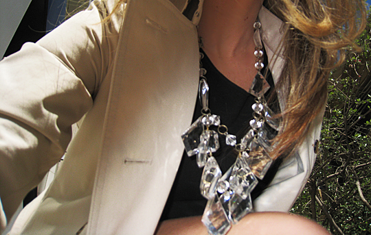 prada chandelier necklace diy+trench
