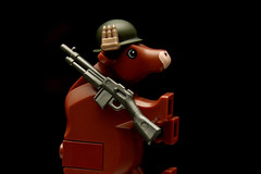 "Full Leather Jacket (Joriel ""Joz"" Jimenez) Tags: cow lego helmet bovine fullmetaljacket babar onblack cowswithguns views500 views900 brickarms bam1helmet"