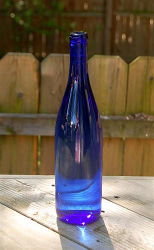 Water in blue bottle