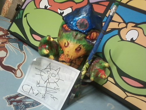 "!! terrible2z.com -"" tOkKa's ULTIMATE NERVOUS BREAKDOWN :: 10th Anniversary Sweepstakes "" The Drawing:: #TMNT  ..as far as a *drawing* - tokka drew this picture of what looks like a kitty"