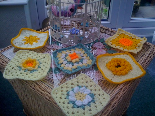 Squares for our 'Flower' Challenge. From Kinsey (UK) Thanks so much they are beautiful!