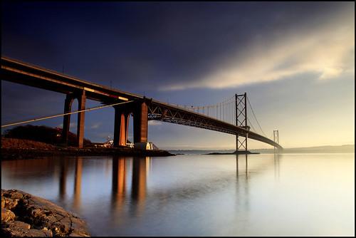 Forth Road Bridge (angus clyne) road new travel bridge winter light sunset red sea water mouth scotland smog high edinburgh arch suspension time fife angus jetty tide scottish estuary forth land lothian firth clyne colorphotoaward