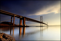 Forth Road Bridge (angus clyne) Tags: road new travel bridge winter light sunset red sea water mouth scotland smog high edinburgh arch suspension time fife angus jetty tide scottish estuary forth land lothian firth clyne colorphotoaward