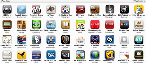 iPad applications installed - screenshot