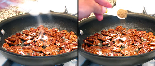 Pecans Getting Dusted in Sugars