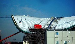 Working on the roof of the Aquatics Centre, London 2012 Olympic Site (Andy Wilkes) Tags: road park bridge roof building london cup andy basketball cake danger work landscape canal site construction crane stadium centre andrew east arena land marsh hackney olympic olympics scape orbit velodrome stratford 2012 wilkes marshes aquatics l01 londonist 2011 ruckholt wwwinsidelondon2012blogspotcom