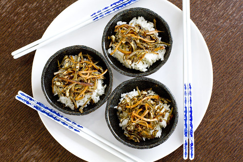 3 bowls Dried Sardines and Bean Curd on Rice 2
