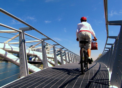 Cyclist flow through this aerodynamic Canoe Bridge at Falsecreek Southeast