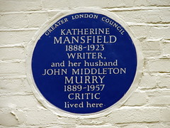 Photo of Katherine Mansfield and John Middleton Murry blue plaque