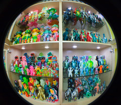 Fisheye Japanese toy collection! (fun9us) Tags: bear people mushroom glass monster toy japanese smog model heaven tank m1 attack fisheye godzilla collection fungus terror shelves mecha kaiju bandai gargamel marmit hedorah bullmark mechagodzilla m1go photojojo charactics marusan hedoran matango toygraph