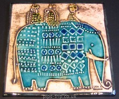 1967 Gustavsberg (Sweden) 'Unik' Series Elephant Wall Plaque by Lisa Larson