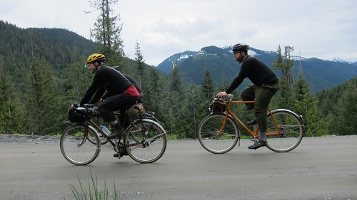 Michael (rear) and I (front) climbing up Jack Pass.  Photo by Rory.