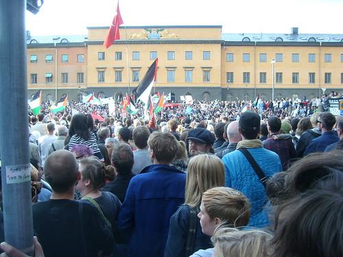 Demonstration utanför Israels ambassad