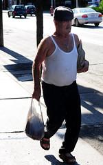 June1.2010 (53) (peter j mason) Tags: street summer people urban toronto hat walking sandals candid sunny oldman bags dundas hemingway muscleshirt goldcross
