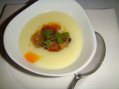 Crema de patata con mejillones