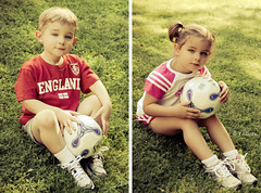 C., M. & the Soccer Ball (Rebecca812) Tags: light boy portrait sunlight cute green girl beautiful smile grass sunshine kids ball children outside kid twins eyes diptych pretty child play eyelashes sweet sister brother soccer c daughter naturallight son m hazel ponytail pigtails fraternal coffeeshopactions canon5dmarkii familygetty2010 rebecca812