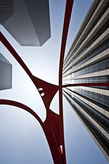 Calder (johnwilliamsphd) Tags: plaza blue red sky sculpture copyright abstract art public metal architecture buildings john 1 la losangeles iron downtown williams c calder bankofamerica dtla bofa stel  williams john johncwilliams johnwilliamsphd phd