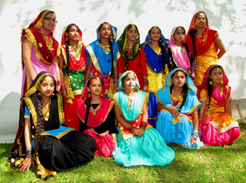 Sawan Mela South Asian Summer Festival, group portrait of young Indian female dancers